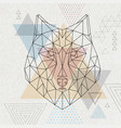 abstract polygonal tirangle animal wolf hipster vector image