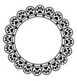 black animal paw prints round frame border vector image