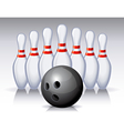bowling pins and ball vector image vector image
