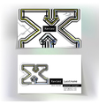 Business card design with letter X vector image vector image
