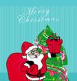 Christmas Santa Claus with christmas gift card vector image vector image