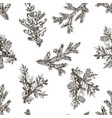christmas seamless pattern in engraving style vector image vector image