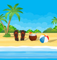 coconut with cold drink alcohol cocktail in hand vector image vector image
