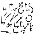 collection hand drawn doodle arrow set vector image vector image