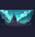 creepy castle on rock at night haunted palace vector image