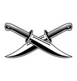 crossed knives on white background vector image