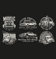 custom cars vintage labels vector image vector image