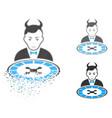 decomposed dot halftone devil roulette dealer icon vector image vector image