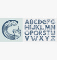 decorative marine alphabet in ancient style waves vector image