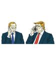 donald trump with vladimir putin on phone cartoon vector image vector image
