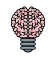 drawing brain bulb inspiration creativity vector image vector image