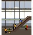 escalator in airport building vector image vector image