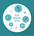 flat icons scheme compass pen and other vector image vector image