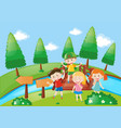 four kids in the park vector image vector image