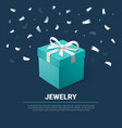 gift box and silver confetti turquoise jewelry vector image vector image