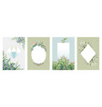 greenery posters trendy floral frames borders of vector image