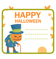 halloween pumpkin monster card vector image