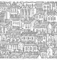hand drawn linear houses seamless pattern vector image