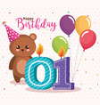 happy birthday card with bear teddy vector image