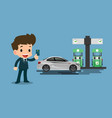 happy businessmen use his credit card and refuel vector image vector image