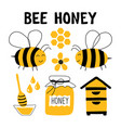 honey funny doodle set beekeeping apiculture vector image