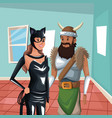 house interior background with half body cat woman vector image