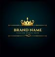 luxury brand logo with golden crown design vector image vector image