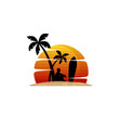 man sit under palm tree summer holiday beach vector image