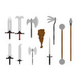medieval weapons set antique metal armour weapon vector image vector image