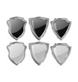 metal shield set white and black shiny plate vector image vector image