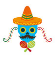 mexican skull with hat maracas decoration vector image vector image