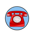 red old phone icon in pop art retro comic style vector image