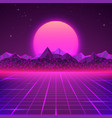 retro landscape in purple colors futuristic vector image