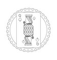 Round shape of playing card queen character poker