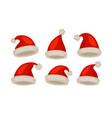 santa claus hat set icons christmas symbol vector image vector image