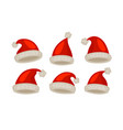 santa claus hat set of icons christmas symbol vector image