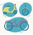 Scooter bicycle and unicycle set vector image