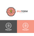 simple brain and mind logo design template symbol vector image