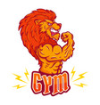 sport emblem with angy lion vector image