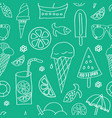 summer icons white silhouettteson green vector image