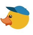 toy rubber duck with blue hat icon vector image vector image