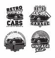 vintage monochrome hot rod garage logo design vector image