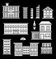 white houses icons on black backgrond vector image vector image