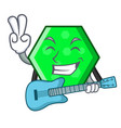 with guitar octagon mascot cartoon style vector image