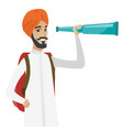 young hindu traveler with spyglass vector image vector image