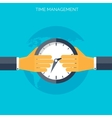 Flat hands with clock Time management concept vector image