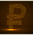 abstract sign ruble binary code with neon light vector image vector image