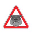 angry dog warning sign red bulldog hazard vector image vector image