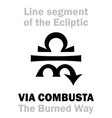 astrology sign of via combusta the burned way vector image