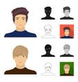avatar and face cartoonblackflatmonochrome vector image vector image